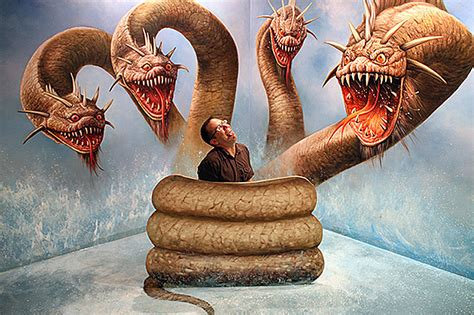 ilusiones opticas religiosas man and three headed monster snake optical illusion