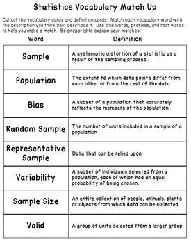 Vocabulary Matching Worksheet by Statistics Vocabulary Matching Activity Worksheet And