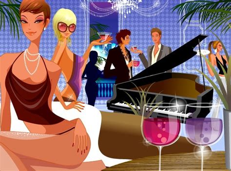 vintage cocktail party illustration free vector young people in a cocktail party illustration