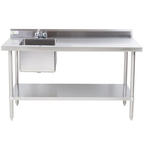 stainless steel work table with sink regency 30 quot x 96 quot 16 stainless steel work table with