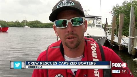 tow boat florida capsized boat and boaters rescued by passing tow boat in