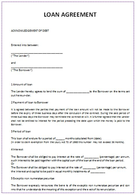 Loan Agreement Letter Between Two Document Templates Loan Agreement Template In Word