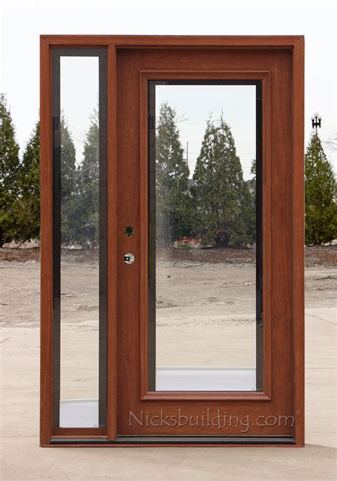 Exterior Door With Blinds Between Glass by Exterior Entry Doors With 1 Sidelight Solid Mahogany Entry Doors