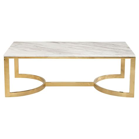 White Marble Coffee Table Nata White Marble Brass Shoe Coffee Table Kathy Kuo Home