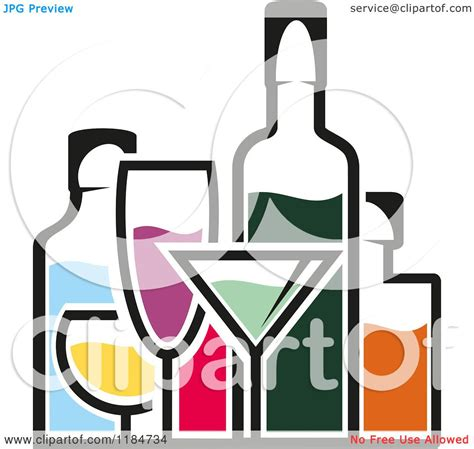 alcohol vector clipart of bottles of alcohol and glasses 2 royalty free