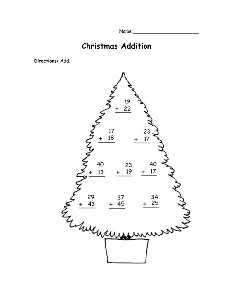 Uncategorized Christmas Math Addition Worksheets Tree Math Coloring Page