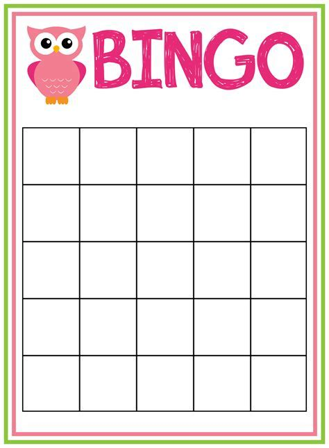 blank baby shower bingo cards template 7 best images of free printable baby bingo card