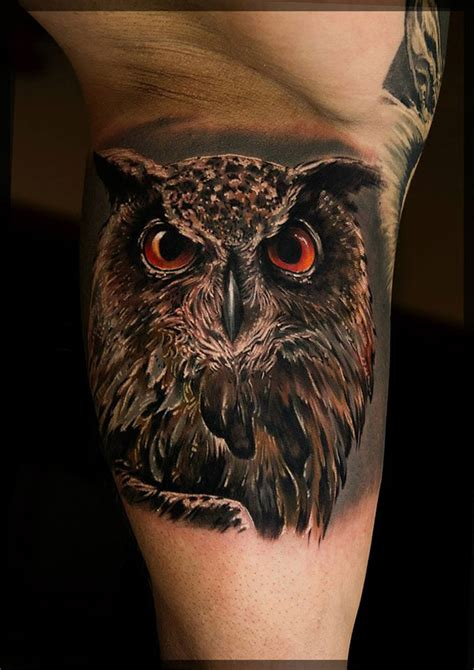 owl tattoo orange eyes owl with burning orange eyes best tattoo design ideas