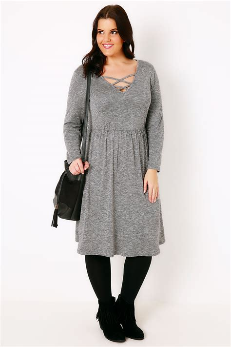 Sleeve V Neck Knit Dress grey space knit sleeve dress with lattice v neck plus