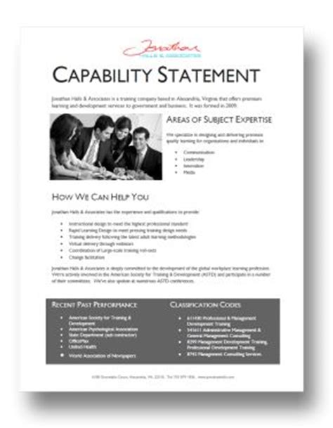 10 Best Capabilities Statement Images On Pinterest Capabilities Presentation Template