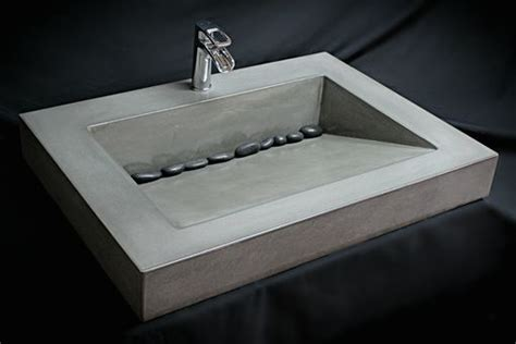 handmade custom concrete ramp sink   concrete sink