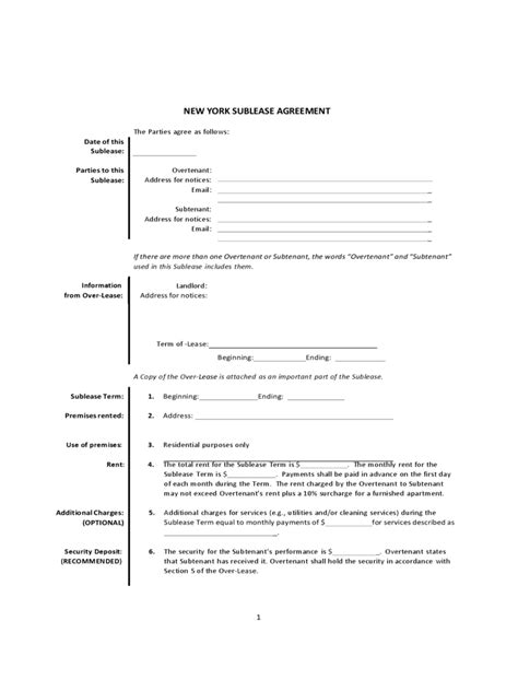 sublet agreement template nyc new york rent and lease template free templates in pdf