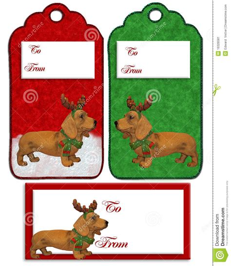 christmas labels dachshund dog stock image image 16326581