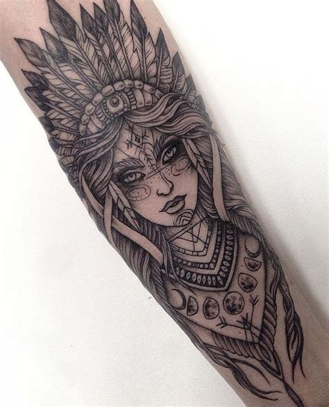 dotwork tattoo with and indian