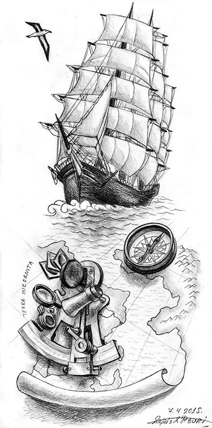 sextant sketch a clipper with old map with a sextant tattoo ideas