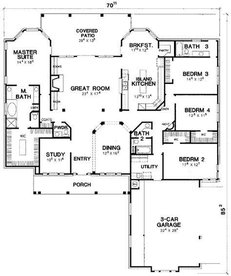 split bedroom plan split bedroom hill country 31077d 1st floor master suite butler walk in pantry cad