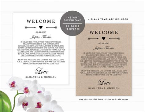 welcome bag letter template wedding welcome bag note welcome letter template kit