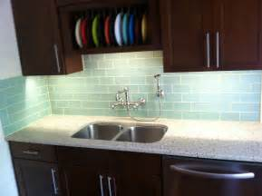Kitchen With Glass Backsplash by Surf Glass Subway Tile Kitchen Backsplash Decobizz Com