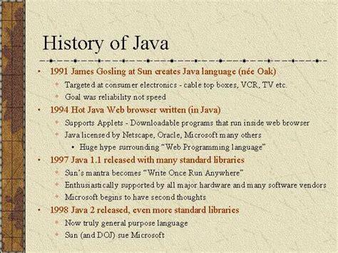Historis Of Java java