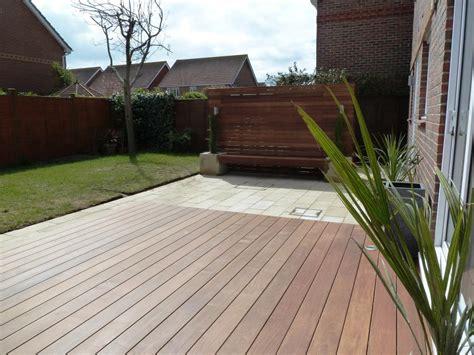 Garden makeover with paving, Ipe hardwood deck, vertical