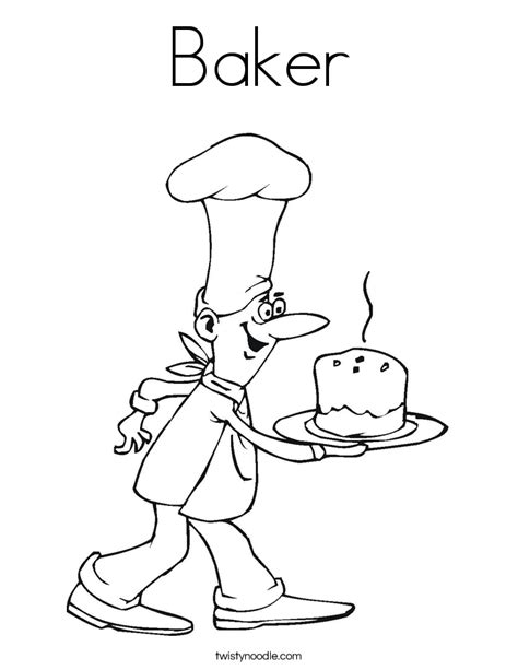 Baker Coloring Page baker coloring page twisty noodle
