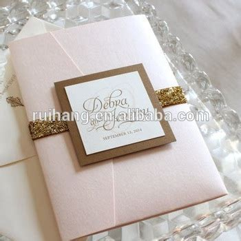 Peach Glitter Pocket Fold Wedding Invitations Cards With