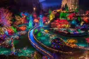 buchart gardens christmas lights royalty free stock photo