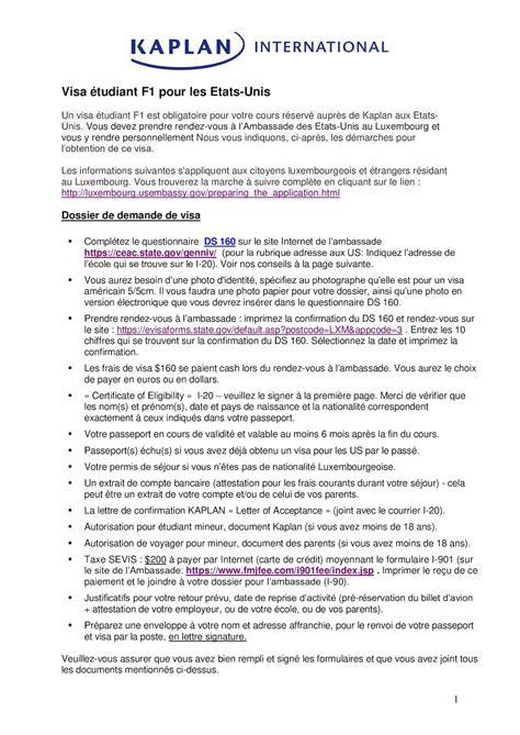 Lettre De Demande De Visa Usa Calam 233 O Luxembourg Usa Visa 233 Tudiant