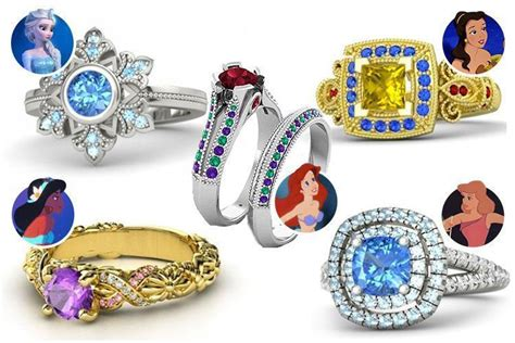 these disney inspired wedding and engagement rings will make any feel like a princess on