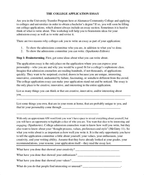 8 Sle College Essays Sle Templates Application Essay Template