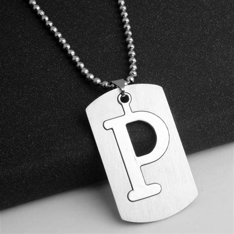 mens personalized stainless steel initial large 26 a z