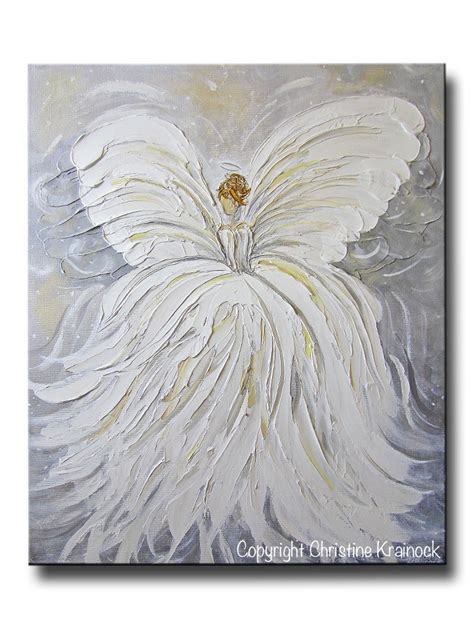 original art wall decor home decor modern art european art original abstract angel painting white grey gold guardian