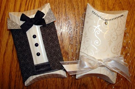 Papercraft Wedding - stin up pillow box and groom joni seith wedding