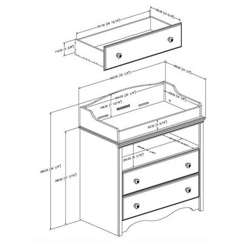 Standard Baby Changing Table Dimensions South Shore Andover Changing Table In White 3680331