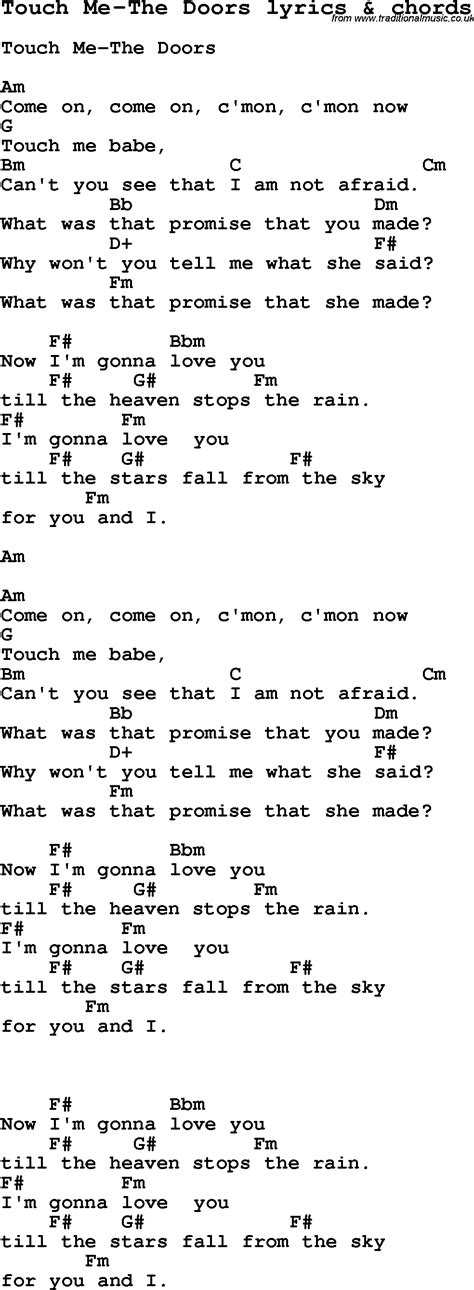 printable lyrics to love is an open door love song lyrics for touch me the doors with chords