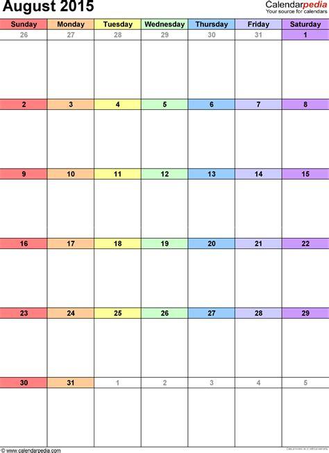 Calendar 2015 August Pdf August 2015 Calendars For Word Excel Pdf