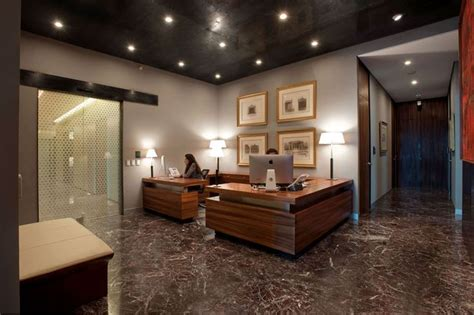 Office Interior Decorating Ideas Marble Flooring Ceiling Recessed Lighting Wood Desks Office Offices