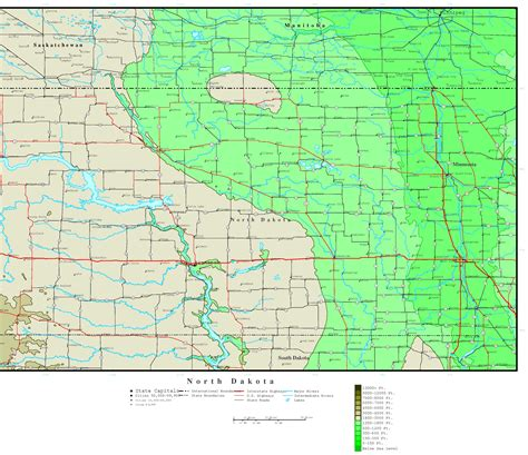 nd map dakota elevation map