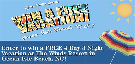 Free Vacation Giveaways - enter to win a free vacation calabash nc calabashtown com