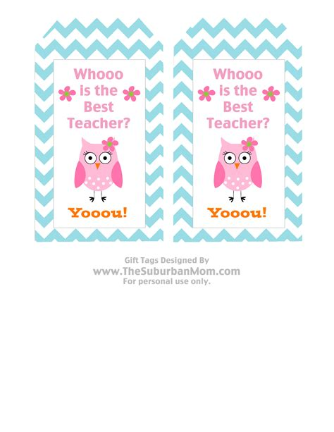 printable teacher appreciation tags teacher appreciation basket free owl printable tag
