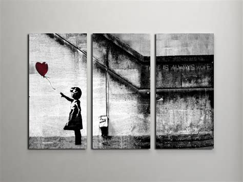 wandtattoo banksy banksy with balloon triptych canvas wall