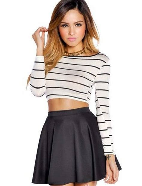 black high waisted skater skirt striped sleeve crop