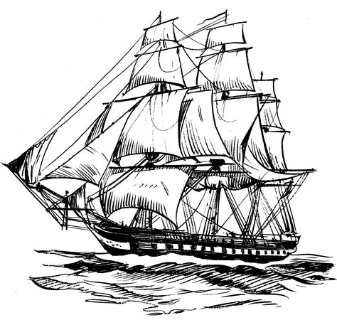 old boat blue book sailing ship line drawing at getdrawings free for