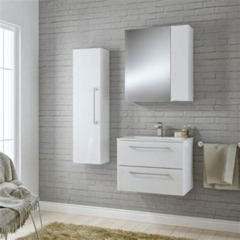 White And Grey Bathroom B Amp Q 163 217 Cooke Amp Lewis Paolo Gloss White Wall Hung Vanity