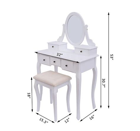 Standard Makeup Vanity Height by Vintage Makeup Table White Aosom Ca