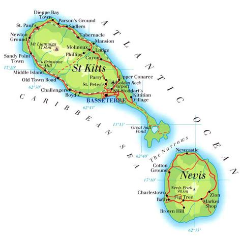 st kitts and nevis map large detailed road and physical map of kitts and