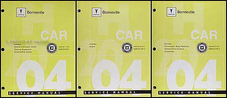service and repair manuals 2004 pontiac bonneville security system 2004 pontiac bonneville repair shop manual original 3 vol set