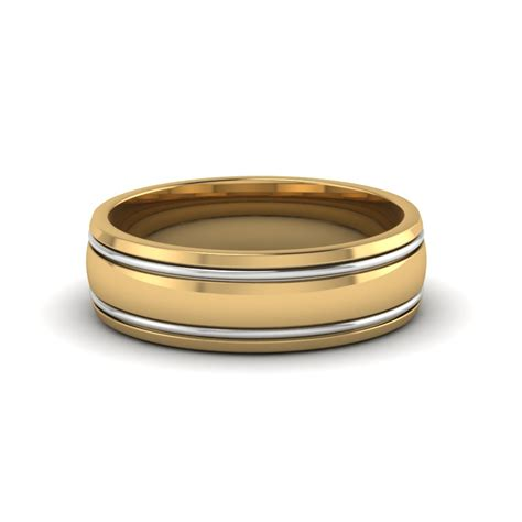 Wedding Bands Two by Two Tone Mens Wedding Ring In 14k Yellow Gold