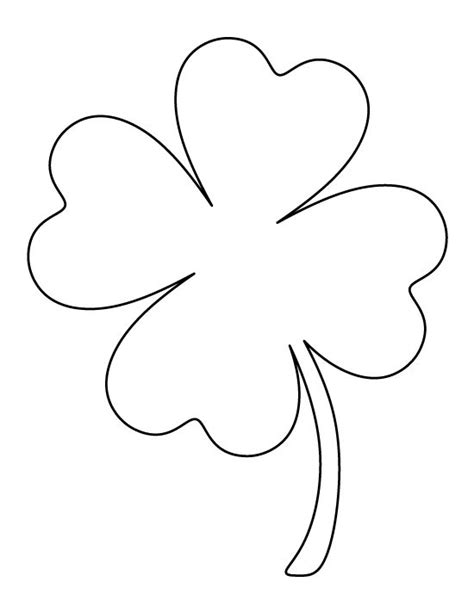 4 leaf clover template printable page large four leaf clover pattern use