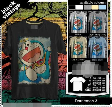 Cotton Stretch 3r Size Xl Xxxl doraemon tshirt japan black vintage tshirt custom tshirt